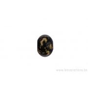 Perle en verre d'artisan - ronde - noir feuille d'argent