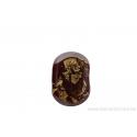 Perle en verre d'artisan - ovale plate - bordeaux feuille d'argent