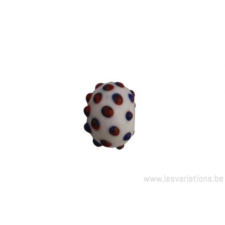 Perle en verre d'artisan - ronde - blanc pois bleu / brun