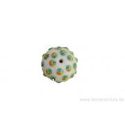 Perle en verre d'artisan - ronde - blanc pois vert / jaune