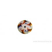 Perle en verre d'artisan - ronde - blanc bleu/brun