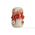Perle en verre d'artisan - cylindre - spirale rouge