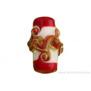 Perle en verre d'artisan - cylindre - blanc - spirale rouge / vert