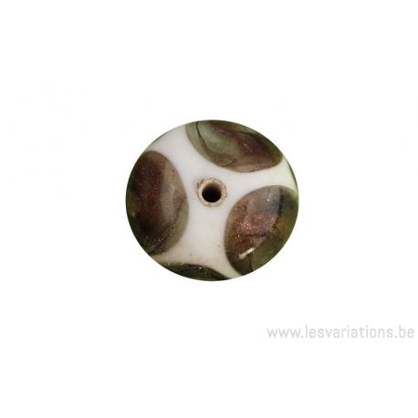 Perle en verre d'artisan - ronde - blanc - rond brun pailleté