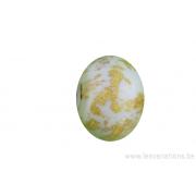 Perle en verre d'artisan - ronde - blanc - feuille d'argent