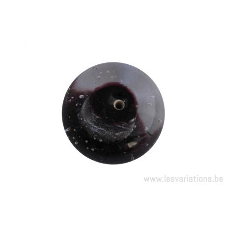 Perle en verre d'artisan - ronde - noir - feuille d'argent