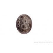 Perle en verre d'artisan - ronde - noir - bulles
