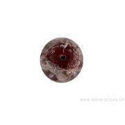 Perle en verre d'artisan - ronde - rouge - bulles