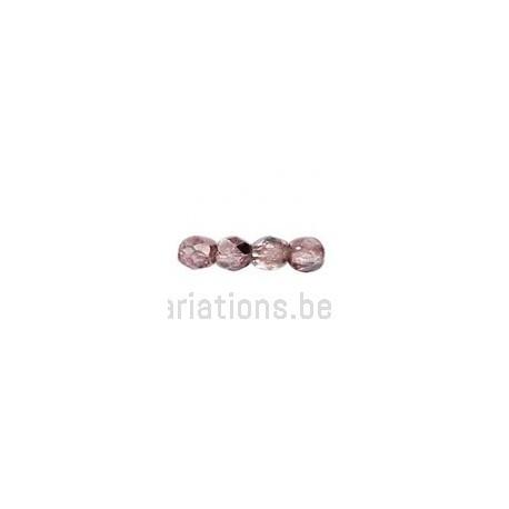 Perle en verre à facette - Améthyste métallisé x10