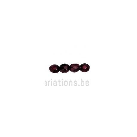 Perle en verre à facette - bordeaux métallisé x10