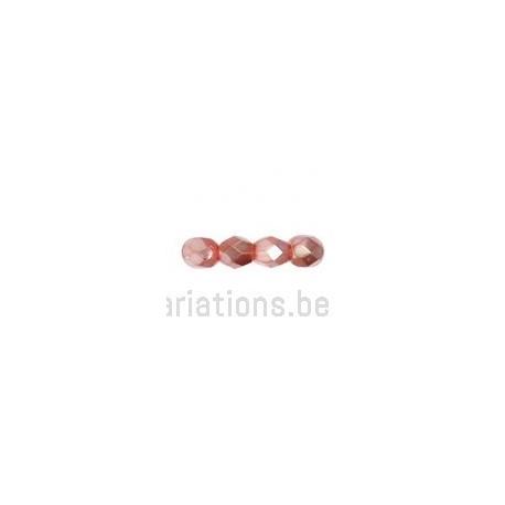 Perle en verre à facette - rose nacré x10