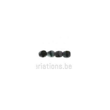 Perle en verre à facette - gris foncé moucheté noir x10