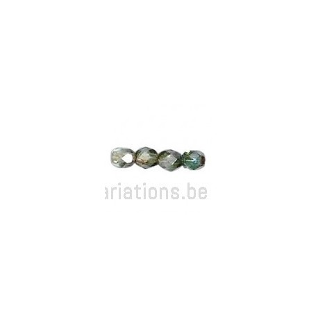 Perle en verre à facette - vert moyen flammé x10