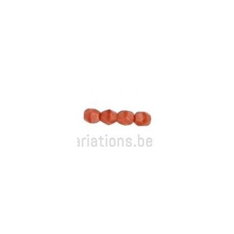 Perle en verre à facette - vieux rose mate x10