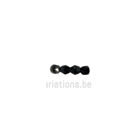 Perle en verre à facettes - noir moucheté gris x10