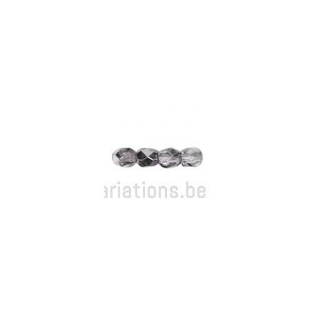 Perle en verre à facettes - violet métallisé x10