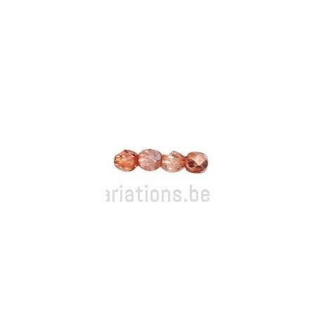 Perle en verre à facettes - vieux rose métallisé - clair x10