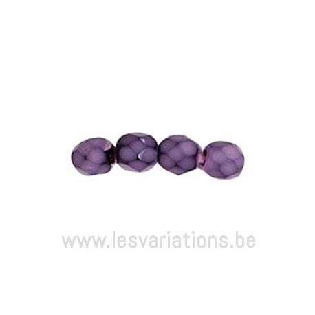 Perle en verre à facettes - améthyste - foncé - nervuré noir x10
