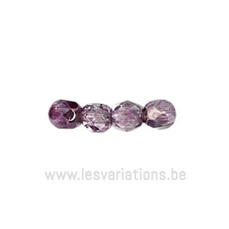 Perle en verre à facettes - améthyste - foncé - métallisé x10