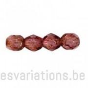 Perle en verre à facettes - vieux rose transparent marbré x10