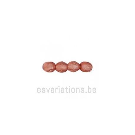 Perle en verre à facettes - vieux rose transparent mat x10
