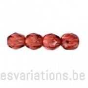 Perle en verre à facettes - vieux rose - foncé - transparent x10