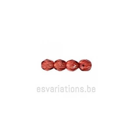 Perle en verre à facettes - mauve métallisé x10