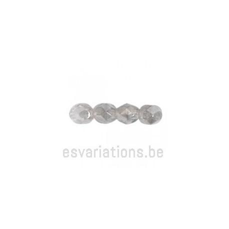 Perle en verre à facettes - gris métallisé - transparent - transparent x10