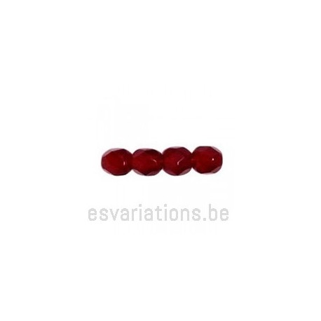 Perle en verre à facettes - rouge foncé - transparent x10