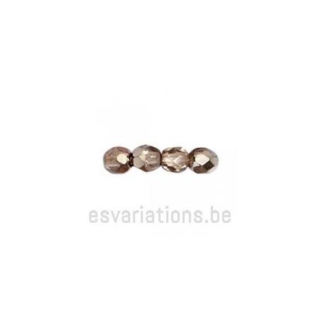Perle en verre à facettes - taupe métallisé - transparent x10