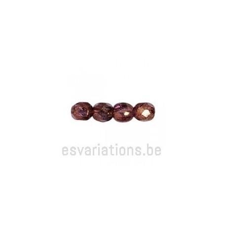 Perle en verre à facettes - brun métallisé - transparent x10