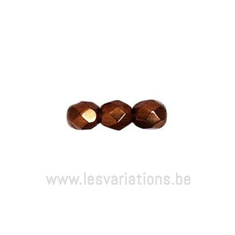 Perle en verre à facettes - cuivré x10