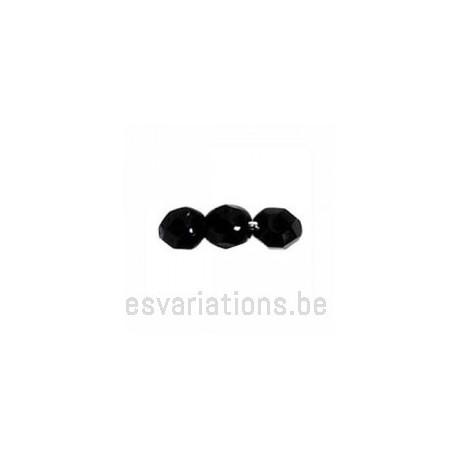 Perle en verre à facettes - noir x10