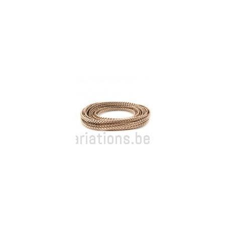 Cordon cuir plat tressé - 5 mm - rose doré - par 25 cm