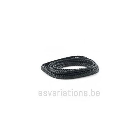 Cordon cuir plat tressé - 5 mm - noir - par 25 cm