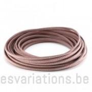 Cordon cuir plat avec billes - 6 mm - rose - par 25 cm