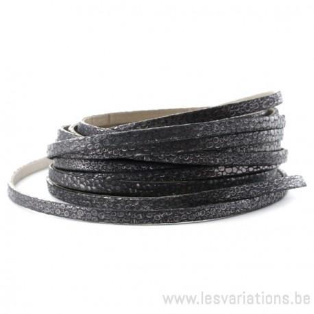 Cordon cuir plat vipère doublé - 10 mm - noir - par 25 cm