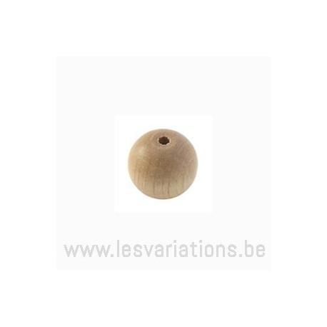 Perles en bois ronde - 10 mm - beige x 40