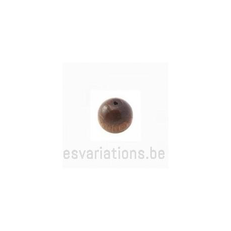 Perles en bois ronde - 10 mm - brun foncé x 40