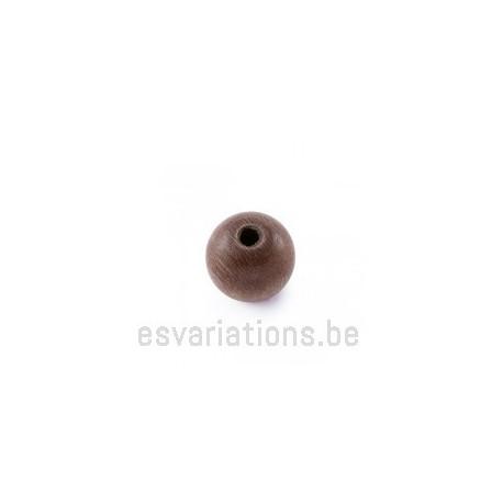 Perles en bois ronde - 10 mm - brun rosé x 40