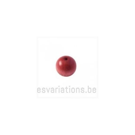 Perles en bois ronde - 10 mm - vieux rose x 40
