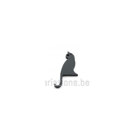 Pendentif chat bois - noir