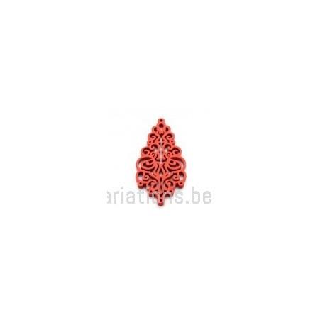 Pendentif stylisé feuille bois - rouge