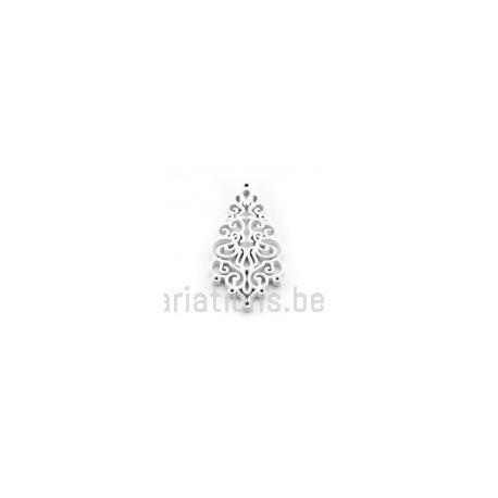 Pendentif stylisé feuille bois - blanc