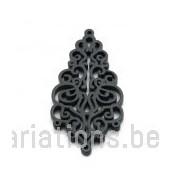 Pendentif stylisé feuille bois - noir