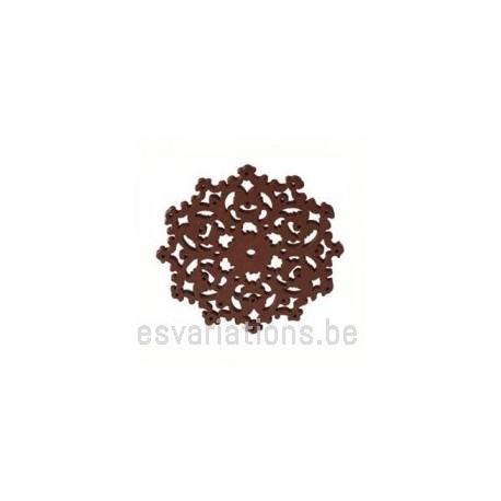 Pendentif - fleur stylisée en bois - brun foncé