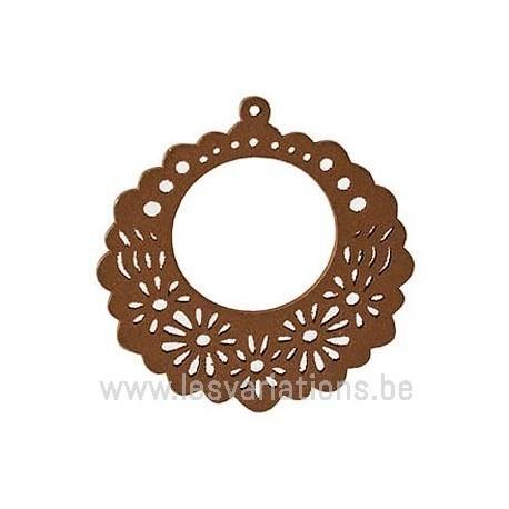 fleur stylisée en bois - brun foncé