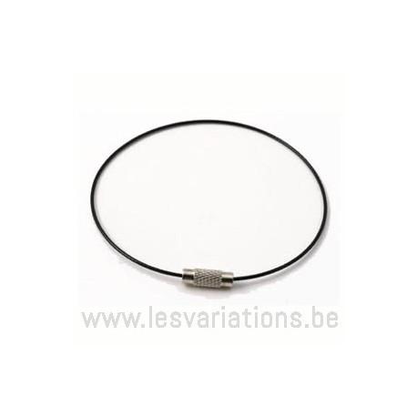 Tour de cou câblé 1mm + fermoir - noir