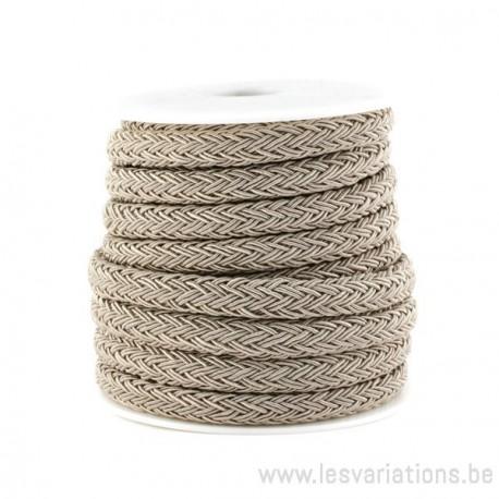 Corde polyester Tressée - beige - par 25 cm