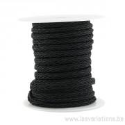 Corde polyester Tressée - noir - par 25 cm